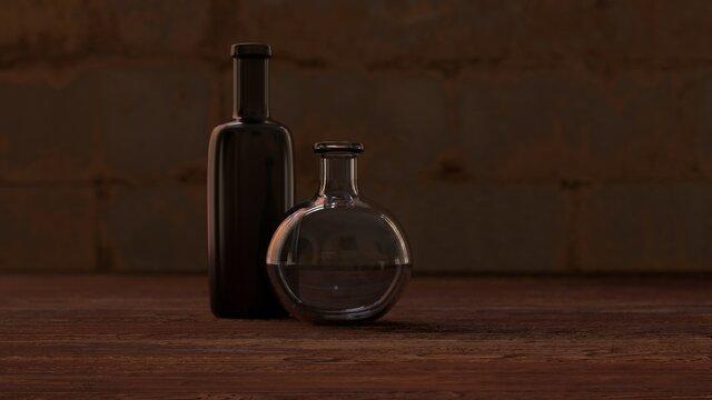 old vintage bottles 3D rendering still life