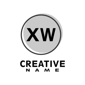 Letter XW logo with grey circle, letter combination logo design with ring, circle object for creative industry, web, business and company.