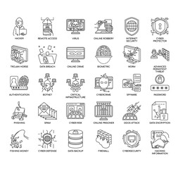 Cyber Robbery , Thin Line and Pixel Perfect Icons - fototapety na wymiar