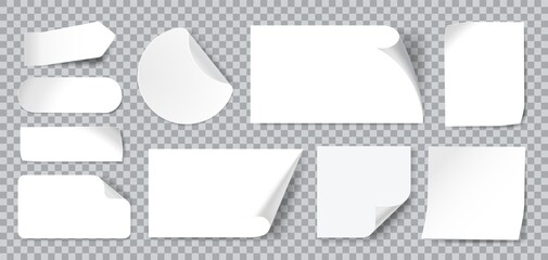 Obraz White stickers. Blank adhesive sticker with folded or curled corners. Realistic paper sticky notes in various shapes vector mockup as circle, rectangle, square clean tags or badges - fototapety do salonu