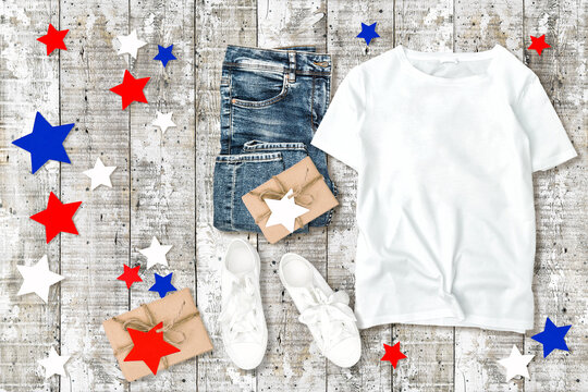 T-shirt mock up. Fashion flat lay 4th of July decoration