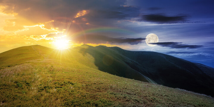 day and night time change concept above mountain landscape in summer. grassy meadows on the hills rolling in to the distant peak beneath sky with sun and moon