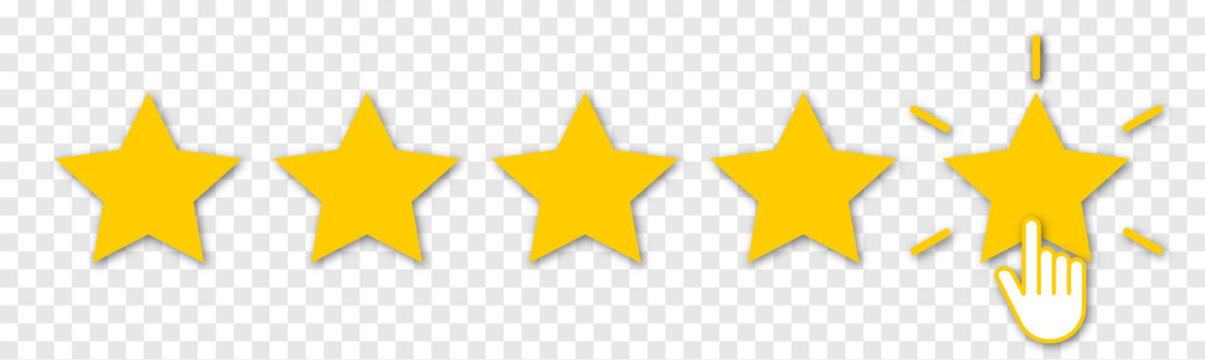 Five yellow stars with hand click. Set of quality rank. Best choice illustration. Hand touching the last star. Rating sign. Design for apps and website. Isolated on transparent background