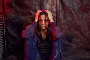 Obraz Drug addict female person in high, den - fototapety do salonu
