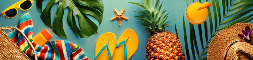 Summer concept with pineapple and essentials of traveler, vocation background with beach items