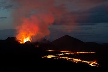 Geldingadalsgos, Fagradalsfjall volcano eruption -  is a shield volcano on the Reykjanes Peninsula, around 40 kilometres  from Reykjavík, Iceland Fototapete
