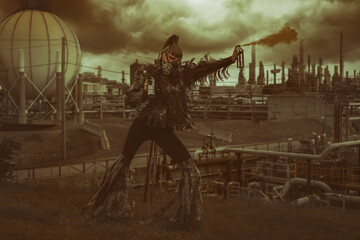 Female wastelander dressed in a costume made of archival film strips, wearing a film reel gas mask, spraying smog in the air of an apocalyptic industrial landscape