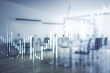 Abstract virtual financial graph hologram on a modern furnished office background, forex and...