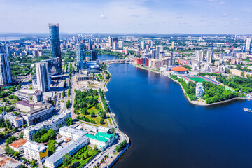 Panorama of Yekaterinburg city center and river Iset. View from above. Russia - fototapety na wymiar
