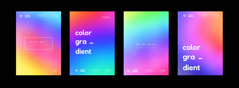 Set of soft gradient colorful backgrounds. Modern abstract color backdrops. Bright ui screens collection. Psychedelic art.