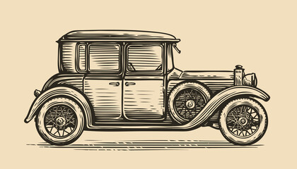 Fototapeta Retro car vector illustration. Vintage vehicle in sketch style obraz