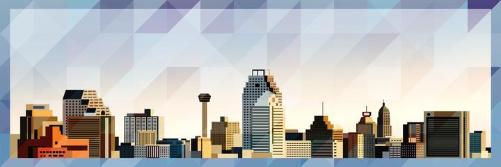San Antonio skyline vector colorful poster on beautiful triangular texture background