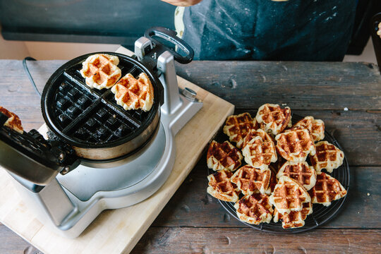 Liege yeasted waffles being made