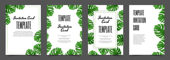 Monstera leaf Tropical leaves banners set on white background. With place for text. Exotic botanical design for cosmetics spa perfume health care products aroma wedding invitation. - fototapety na wymiar