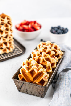 Liege waffles with fresh berries