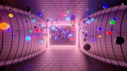3d render. 3D abstract creative background with neon glow multi-colored spheres inside camera, reflecting walls. Luminous balls fly inside dark chamber. Creative simple geometric bg with neon glow