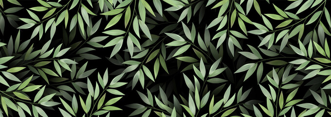 Fototapeta Spring or summer nature Luxurious background. Overgrown tree branches with fresh green leaves. Botanical design for banner cosmetics spa perfume health care products aroma. Exotic texture. obraz