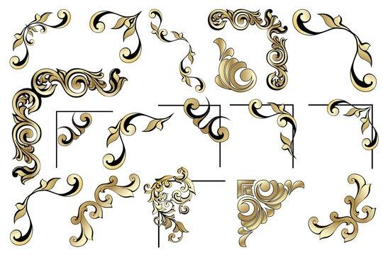 Vector set of vintage baroque corners and dividers.Border,angle,swirl,antique acanthus,damask scroll ornament swirl.Victorian monogram heraldic shield swirl.Retro floral leaf pattern border foliage