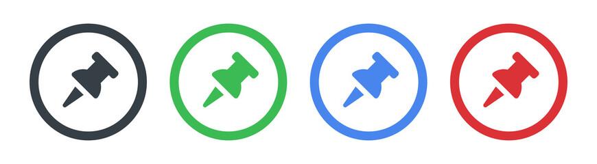 Plastic pushpin, board tack icon. Vector illustration