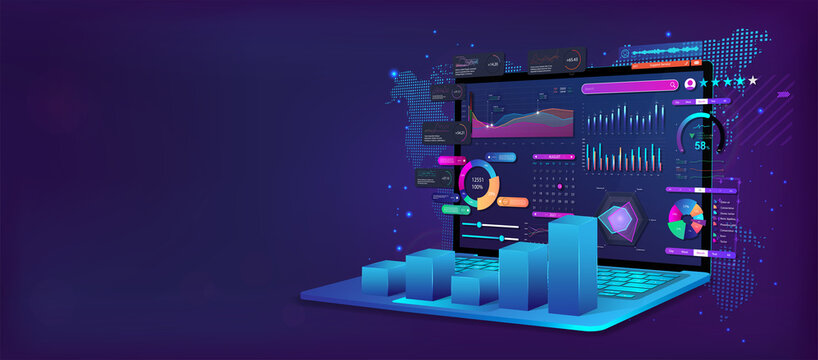 Business analysis and analytics online through the application on a laptop. Dashboard app with business analytics data, charts,  investment, trade and finance management. Vector illustration