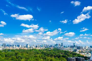 東京風景 初夏 新国立競技場と街並