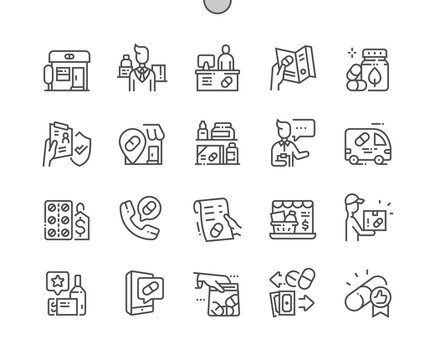 Pharmacy. Herbal pill. Delivery medicines. Online pharmacy. Health care, medical and medicine. Pixel Perfect Vector Thin Line Icons. Simple Minimal Pictogram