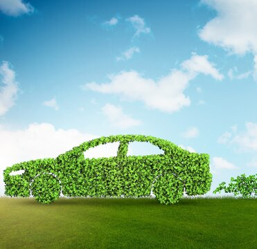 Concept of clean fuel and eco friendly cars - 3d rendering