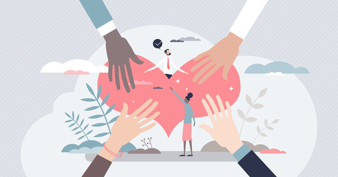 Solidarity help and unity in different nationalities tiny persons concept. Various ethnic groups holding one donation heart and bonding as global friendship, support and care vector illustration.