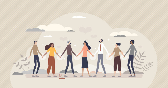Solidarity and unity in different social ethnic groups tiny person concept. Multiracial crowd standing and holding hands as bonding and equality symbol vector illustration. Multinational connection.