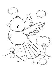 Cute Bird Coloring Book Page Vector Illustration Art