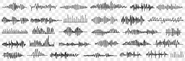 Obraz Sound and voice recording doodle set. Collection of hand drawn various records of voice or sounds in special programs in rows isolated on transparent background  - fototapety do salonu