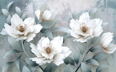 Tapeta z białymi kwiatami do klasycznego wnętrza