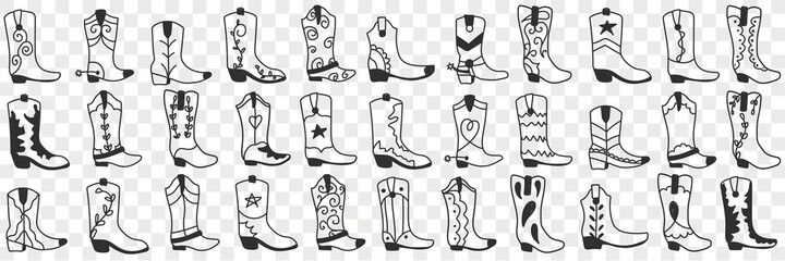 Fototapeta Various cowboy boots doodle set. Collection of hand drawn various high boots in cowboy style for wearing in rows isolated on transparent background  obraz