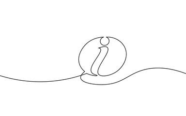 Information symbol one continuous line art. One line tourism assistance service desk inform design. Social media settings mark support help vector illustration