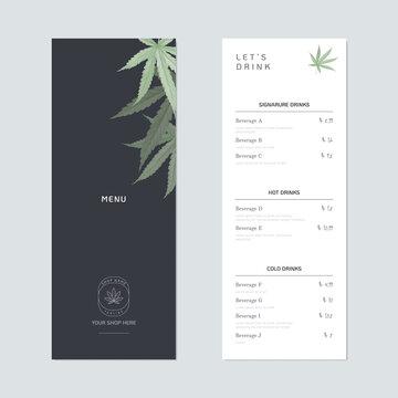 Beverage menu template design, green cannabis leaves on dark blue