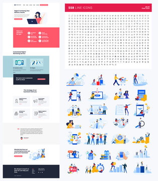 One page website design template. Set of vector illustrations and icons for web design and development. A complete solution for creating a web design.