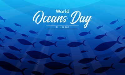 Obraz world ocean day text on a group of mackerel swimming under the ocean vector design - fototapety do salonu