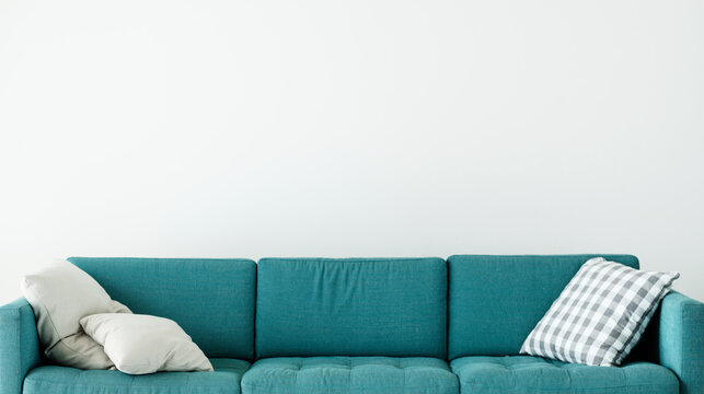 Comfortable couch with cushion isolated no people