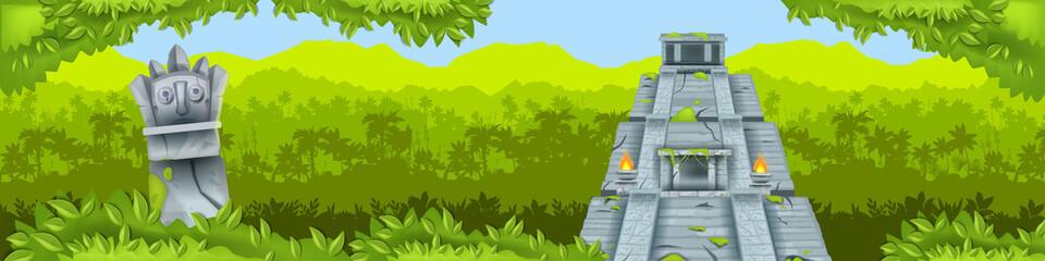 Maya pyramid jungle vector background, ancient Aztec temple ruin, tropical rainforest silhouette, totem. Old civilization travel illustration, Mexico landmark banner. Maya pyramid, green bushes, palms - fototapety na wymiar