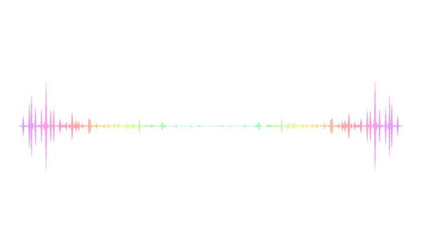 Frequency audio waveform, music wave HUD interface elements, colorful voice graph signal.