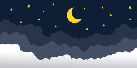 night sky with stars and moon. paper art style. Vector of a crescent moon with stars on a cloudy night sky. Moon and stars background.