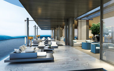 Fototapeta 3d render of hotel lobby and terrace obraz