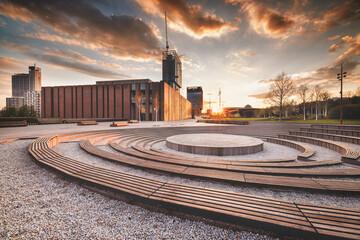 Fototapeta Katowice - zachód słońca obraz