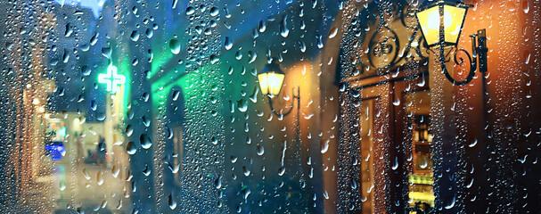 rain night city abstract background, wet dark street