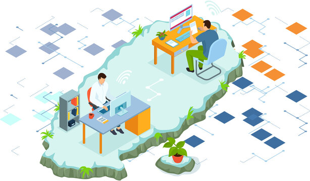 Online collaboration, remote business management, wireless computing service concept. Project management. Remote business. Coworking team of users connected by cloud computing video conference