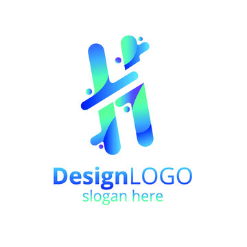 Vector colorful logo template with gradient in blue-green colors. Letter H.