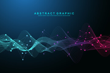 Fototapeta Flowing geometric abstract background with connected lines and dots. Connectivity flow point. Molecule and communication background. Graphic connection background for your design. Vector illustration. obraz