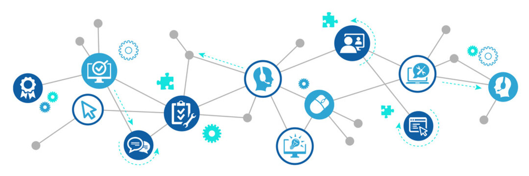 IT support vector illustration. Blue concept with icons related to IT helpdesk, hotline or helpline, remote or online tech support, technical assistance, specialist software service.