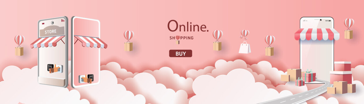 Online delivery service home office  Warehouse,cartoon paper art on mobile. Vector illustration.shopping online