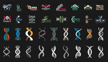 Fototapeta DNA icons. Medical genetic lab, science labels and biotechnology research symbols. People health vector elements obraz
